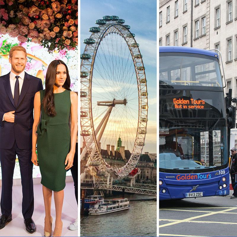 Madame Tussauds + London Eye + Golden Tours Bus